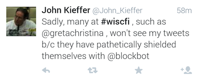 Sadly, many at wiscfi such as Greta Christina won't see my tweets because they have pathetically shielded themselves with block bot,